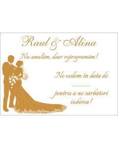 Card reprogramare nunta, cod CR01