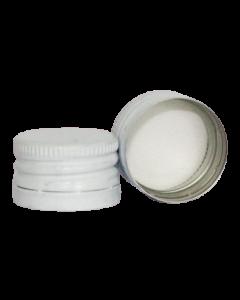 Capac prefiletat din aluminiu D28*18 mm alb, cod DC15 alb