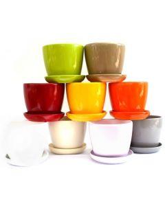 Ghiveci ceramic cu farfurie 10.5 cm, cod GH01