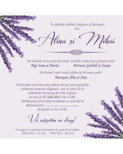 Invitatie nunta personalizata lavanda, cod IFE03