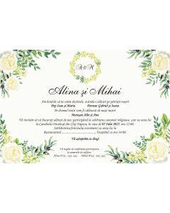 Invitatie nunta personalizata florala, cod IFE06