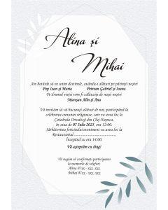 Invitatie nunta personalizata florala, cod IFE07