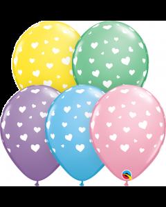 Balon latex cu inimioare albe 28 cm, cod 1BAL.11644